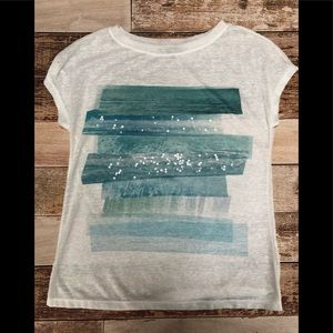 Daisy Fuentes heathered semi sheer t shirt sz m